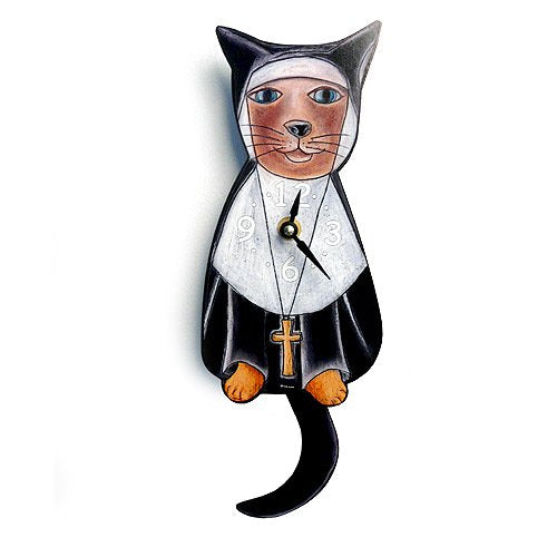 Nun Cat Sister Mary Meow Swinging-Tail Lightweight Wood Wall Clock