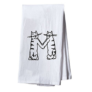 Initial Monogram Letter M Tea Towel for Cat Lovers, Quick Drying