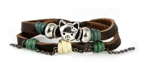 Handcrafted Double Strand Brown Leather Bracelet With Darling Cat
