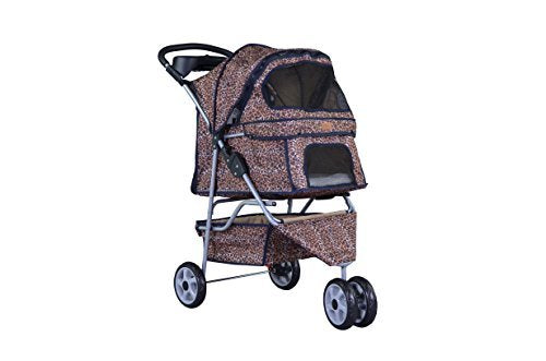 Leopard Skin 3 Wheels Pet Stroller with Rain Cover