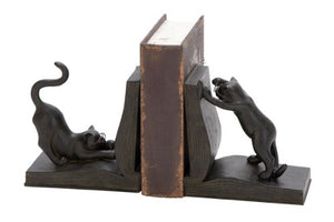 Polystone Cat Bookend Pair, Iron Black and Silver