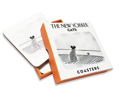 4 The New Yorker Coasters for Cat Lovers, Black & White