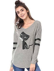 V Neck Striped Cat Print Women's Top, Curved Hem