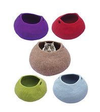 Red Handmade Durable Wool Cat Cave