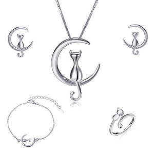 Sterling Silver Cat Moonstone Crystal Pearl Charms Pendant Necklace and Earring, 4 pieces in 1 set