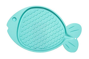 Fish-Shaped Mat for Cats, Aqua