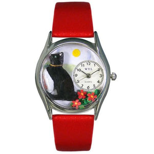Basking Cat Red Leather Watch, Silver-tone stainless steel Case