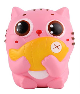 Squishies Toy, Cat Kitten Holding Fish