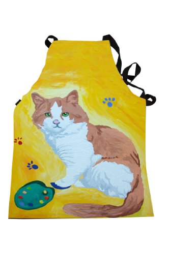 Cat Painter with Paws in the Paint Apron