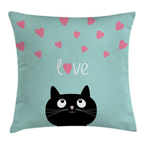 Cat Pillow Cushion Cover with a Cat Print by Ambesonne
