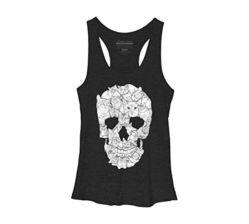 Sketchy Cat Skull Women's Large Black Heather Racerback Tank Top