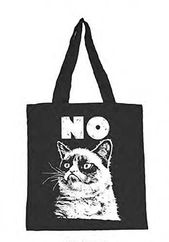 Black Tote Bag with White Grumpy Cat Design