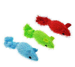 Plush Twitching Mice Cat Toy with Bright Colors