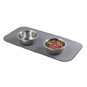 mDesign Absorbent Microfiber Pet Food & Water Bowl, Water Absorbent