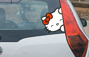 "8"" Kitty Cat Car Decal, High Quality Mimaki ink printed"