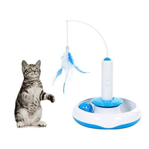 Blue and White Electric Cat Feather Toy