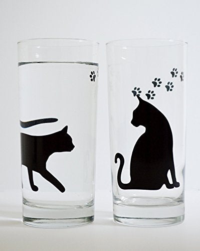 Black Cats with Paws Water Glasses, Listing for 2 glasses