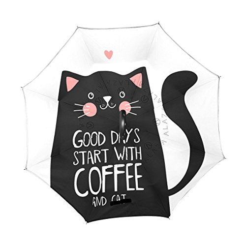 Black Cat Print White Umbrella - Good Days Start with Coffee and Cats