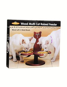 Wood Multi-Cat Raised Feeder with 3 Metal Bowls