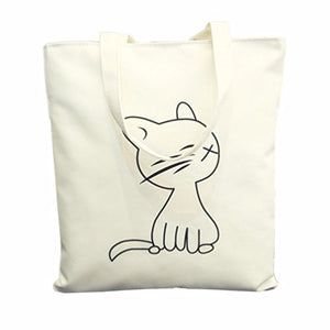 Cat Lightweight White Tote Bag with Zipper Closure Grocery