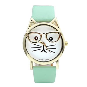 Platinum Plated Cat with Glasses Quartz Watch, Total Length:6.5-8''
