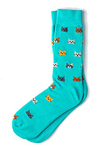 Kitty Cat Power Crew Dress Socks with Vibrant Colors, Men