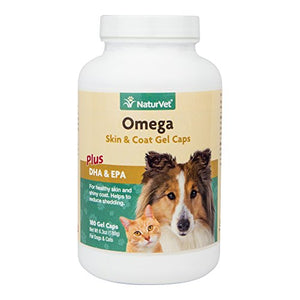 NaturVet Omega Skin & Coat Plus DHA & EPA for Dogs and Cats, 180 ct Gel Caps