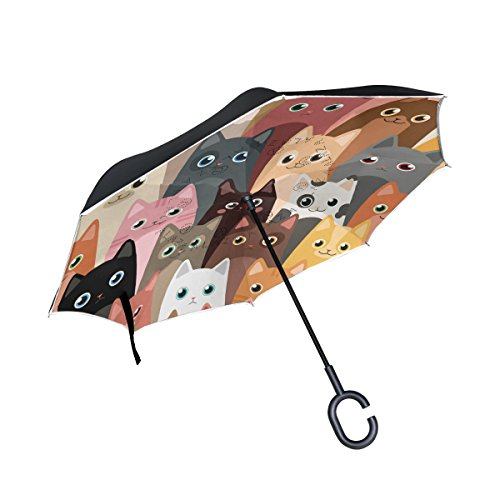 Cartoon Cats Unique Design of Double Inverted Umbrella, 1.26 pounds