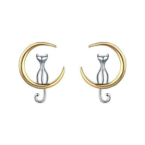 Cat On Moon Jewelry S925 Sterling Silver Earings