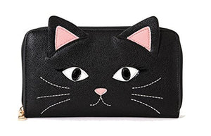 Black Cat Face Zip Around Wallet, 12 Cards + 1 ID Slot