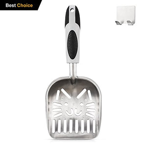 Cat Litter Scoop with Cat Face Sifter, Free Offer Metal Holder