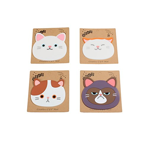 Cute Cat Face Cartoon Cup Coasters, 100% Food Grade Silicone