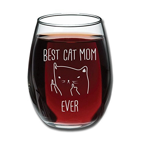 Heavy Thick Wine Glass, Best Cat Mom Ever