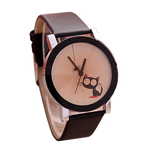 Cat Watching Spider Print Casual Women Watch
