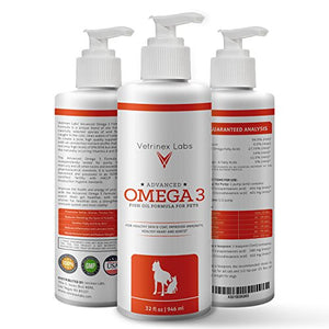 Vetrinex Labs Omega 3 Fish Oil Formula for Dogs and Cats, 32 fl oz