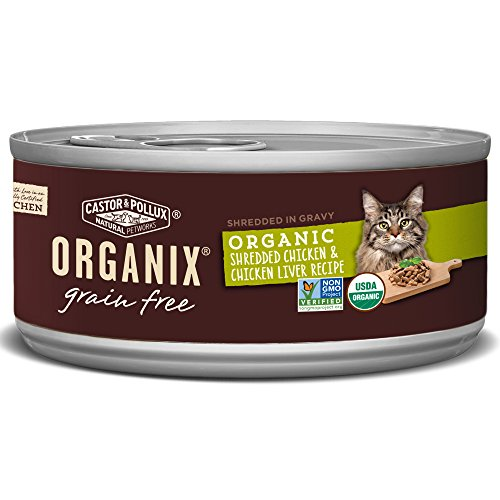 Organix Shredded Chicken & Chicken Liver Recipe for Adult Cats, 5.5-Ounce Cans (Pack of 24)