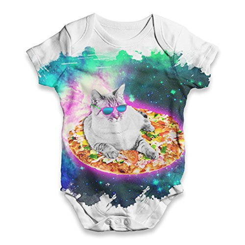 Cat Surfing on Pizza In Space Print on White Baby Bodysuit