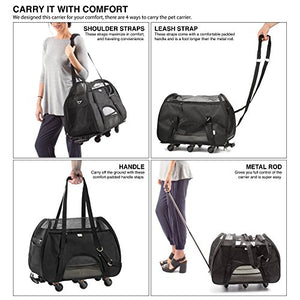 Wheeled Black Pet Carrier for Small Pets