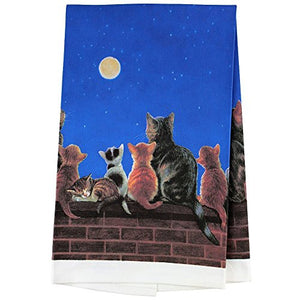 Dish Towel With Cats Under A Full Moon Theme