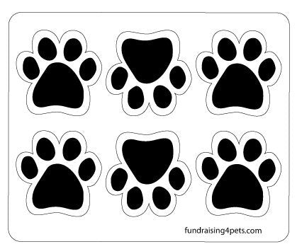 6 Pack Black Mini Paw Magnets for Any Magnetic Surface