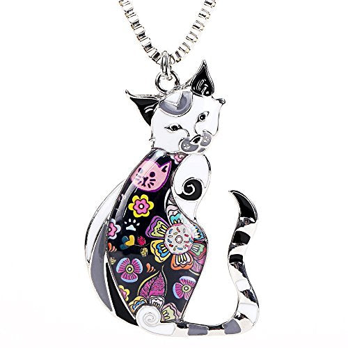 Enamel Printed Cat Box Chain Necklace, 0.8oz