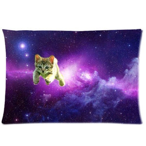 Pillowcase, Lovely Cat Flying In The Purple Universe