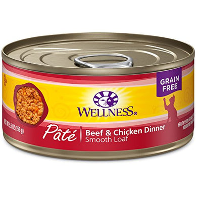 Wellness Beef & Chicken Pate Wet Cat Food, 5.5-Ounce (Pack of 24)