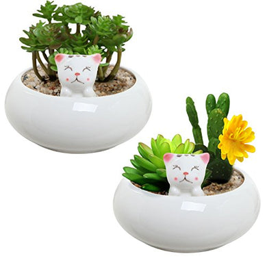 Miniature White Ceramic Decorative Planter, 2 Piece