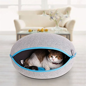 Cozy Gray Felted Cave for Cat