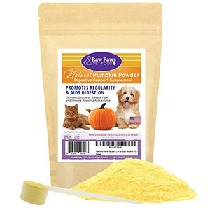 Raw Paws Pet Natural Pumpkin Powder Digestive Supplement for Dogs & Cats, 8-ounce - Fiber for Dogs - Anti Diarrheal, Treats Diarrhea in Dogs & Cats - Digestive Aid & Dietary Supplement - Made in USA