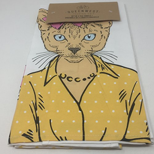Queen West Trading Co Cat in Pearls Tea Towels, Machine washable
