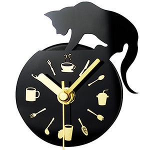 Magnetic Fridge Cat Themed Clock with Kitchen Accessories