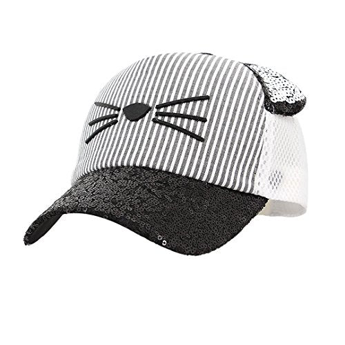 Cat Shiny Sequin Cat Shaped Cap for Kids