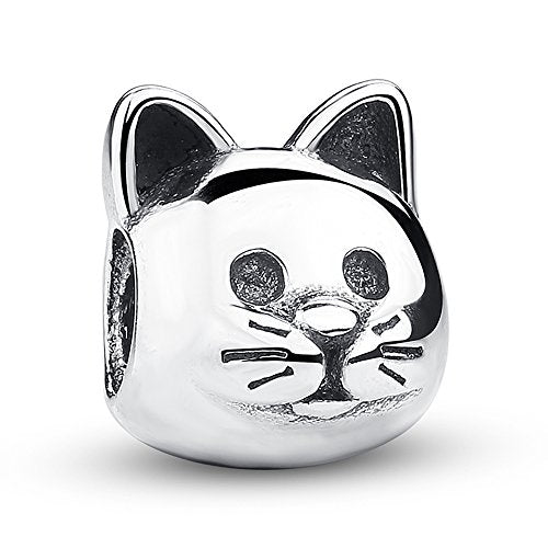 Cat Sterling Silver Bead Fits European Charm Bracelet, 100% Safe for Sensitive Skin.